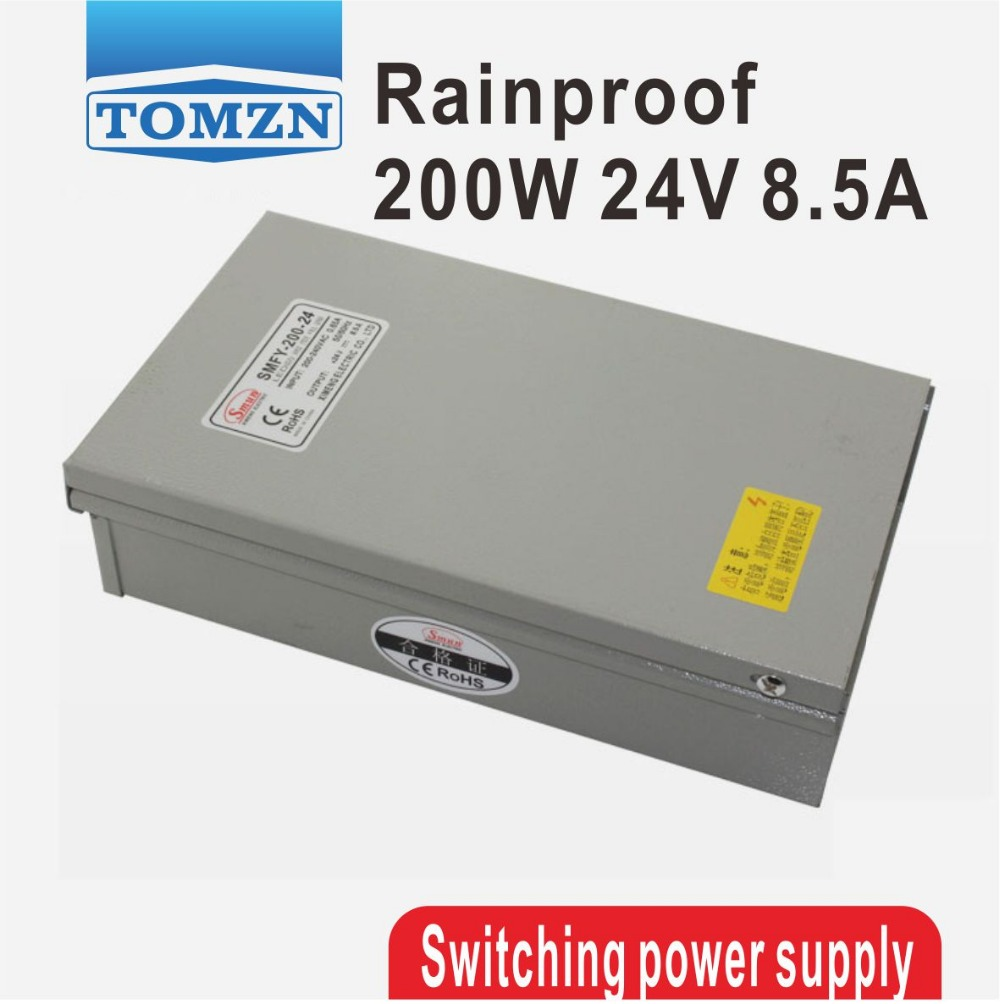 200W 24V 8.5A Rainproof outdoor Single Output Switching power supply smps AC TO DC for LED 60w 24v 2 5a rainproof outdoor single output switching power supply smps ac to dc for led