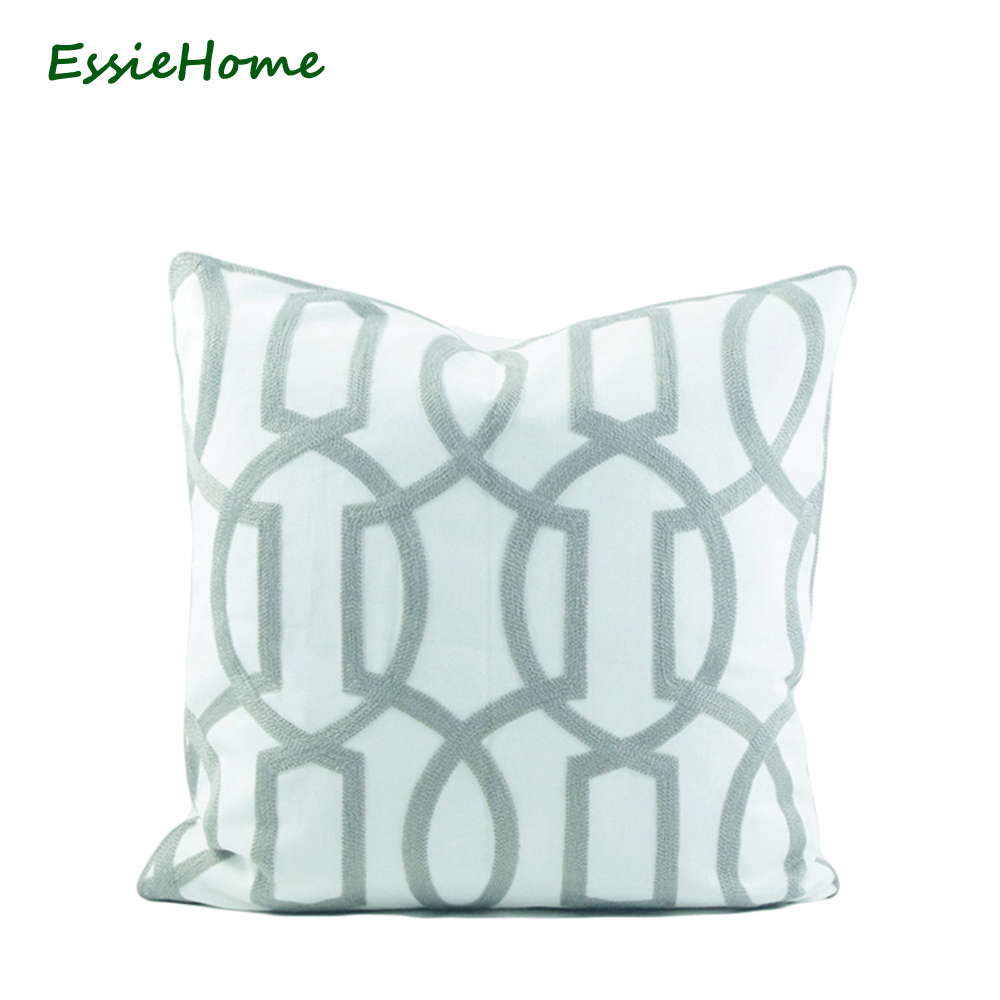 ESSIE HOME 18x18 Light Grey Pillow Case Cushion Cover Crocheted Embroidery Classic Geometric Pattern Modern Throw