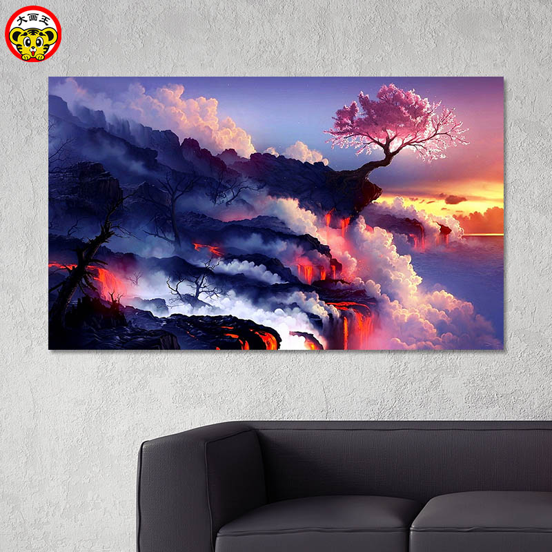 Painting By Numbers Art Paint By Number DIY Digital Painting Beautiful Magma Landscape Living Room Room Decoration Painting Deco