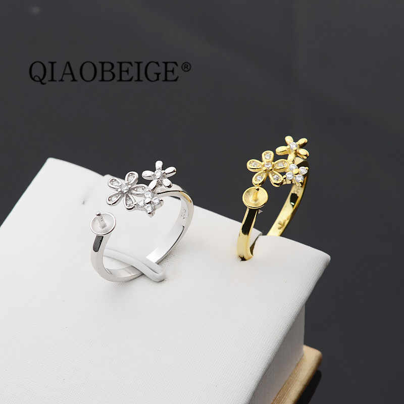 QIAOBEIGE DIY เพิร์ลหยกอุปกรณ์เสริม S925 เงินสเตอร์ลิงแหวนไข่มุกวันเกิดของขวัญใหม่ผลิตภัณฑ์สีขาว