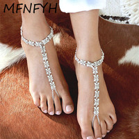 MFNFYH 1Pcs Bridal Simulated Pearl Crystal Flower Anklets For Women Wedding Beach Barefoot Sandals Ankle Foot
