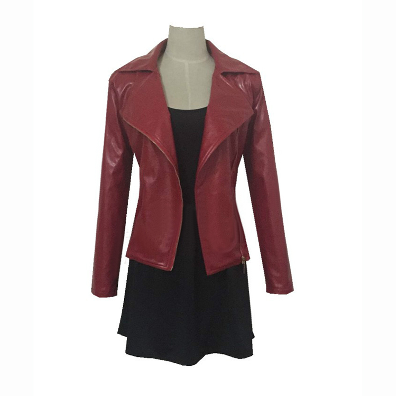 The Avengers Wanda Maximoff Scarlet Witch Cosplay costume red coat+black dress