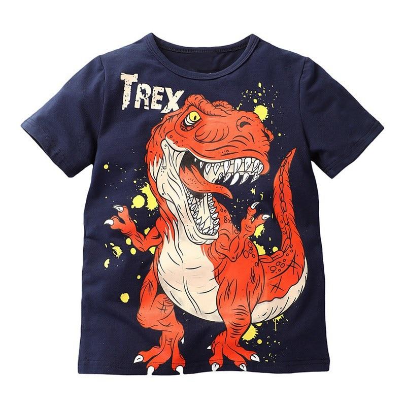 Summer Boy T Shirt Short Sleeve Girl T Shirts Children Cartoon Dinosaur O-neck Tees Tops Kids T-shirt For Boys Cotton Cloth