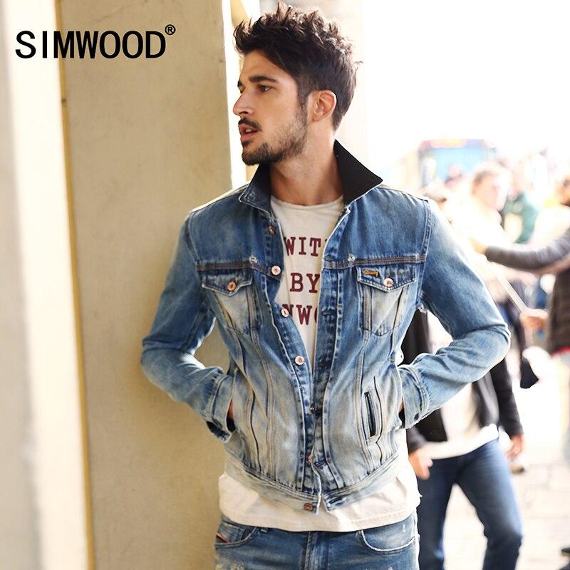 SIMWOOD Brand Cothing Denim Jacket Men 2018 New Arrival Autumn Turn-Down Collar