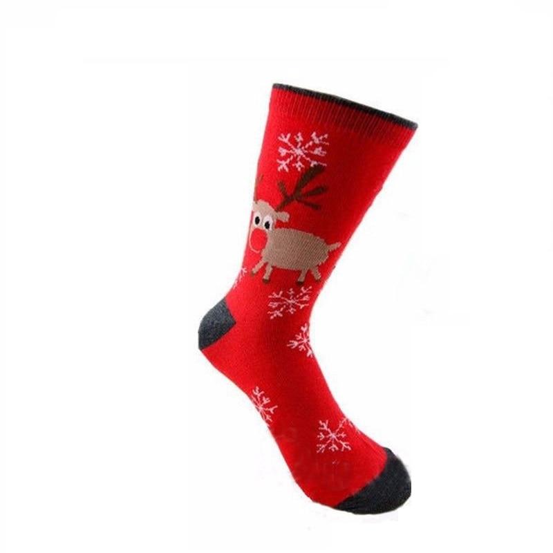 Mens Women Christmas Cotton Socks Santa Snowman Snowflake Socks Filler