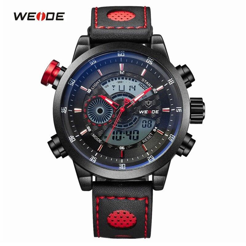 ФОТО WEIDE Men Wristwatches Famous Brand Original Quartz Digital Sports Watches Genuine Leather Strap Waterproof Outdoor Men's Watch