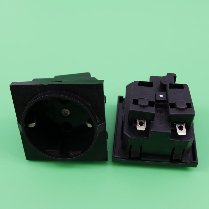 YuXi E-08 Black round embedded industrial outlet European standard German standard 250V 16A universal AC power socket fsp250 50plb fsp250 50lc standard 1u250w industrial industrial control power