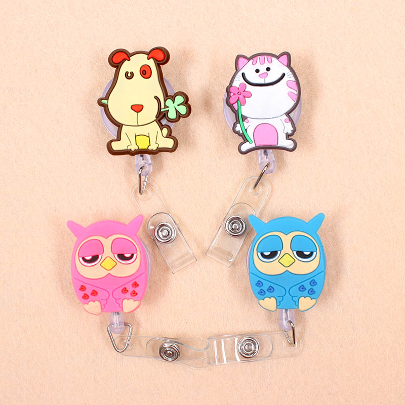 1pcs Owl Dog Cat Retractable Badge Reel Student Nurse Horizontal Type Exhibition ID Name Card Badge Holder Office Supplies