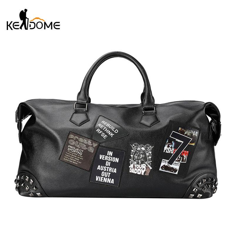 PU cuir souple Fitness sacs de Sport pour hommes Rivet Design formation sac à bandoulière Sport sac à main sac de voyage avec motif XA626WD