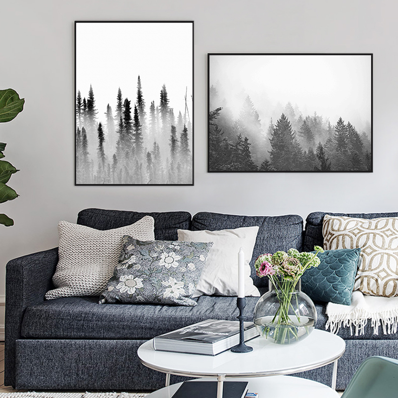 Modern Nordic Minimalist Forest Canvas Art Poster Print Picture Wall Home Decor