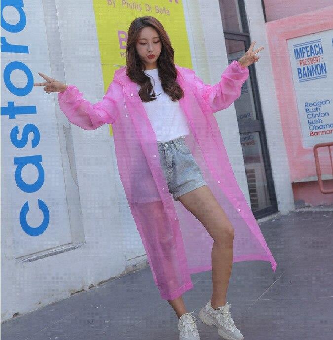 4.Fashion EVA Women Raincoat Thickened Waterproof Rain Coat Women Clear Transparent Camping Waterproof Rainwear Suit Rain jacket_
