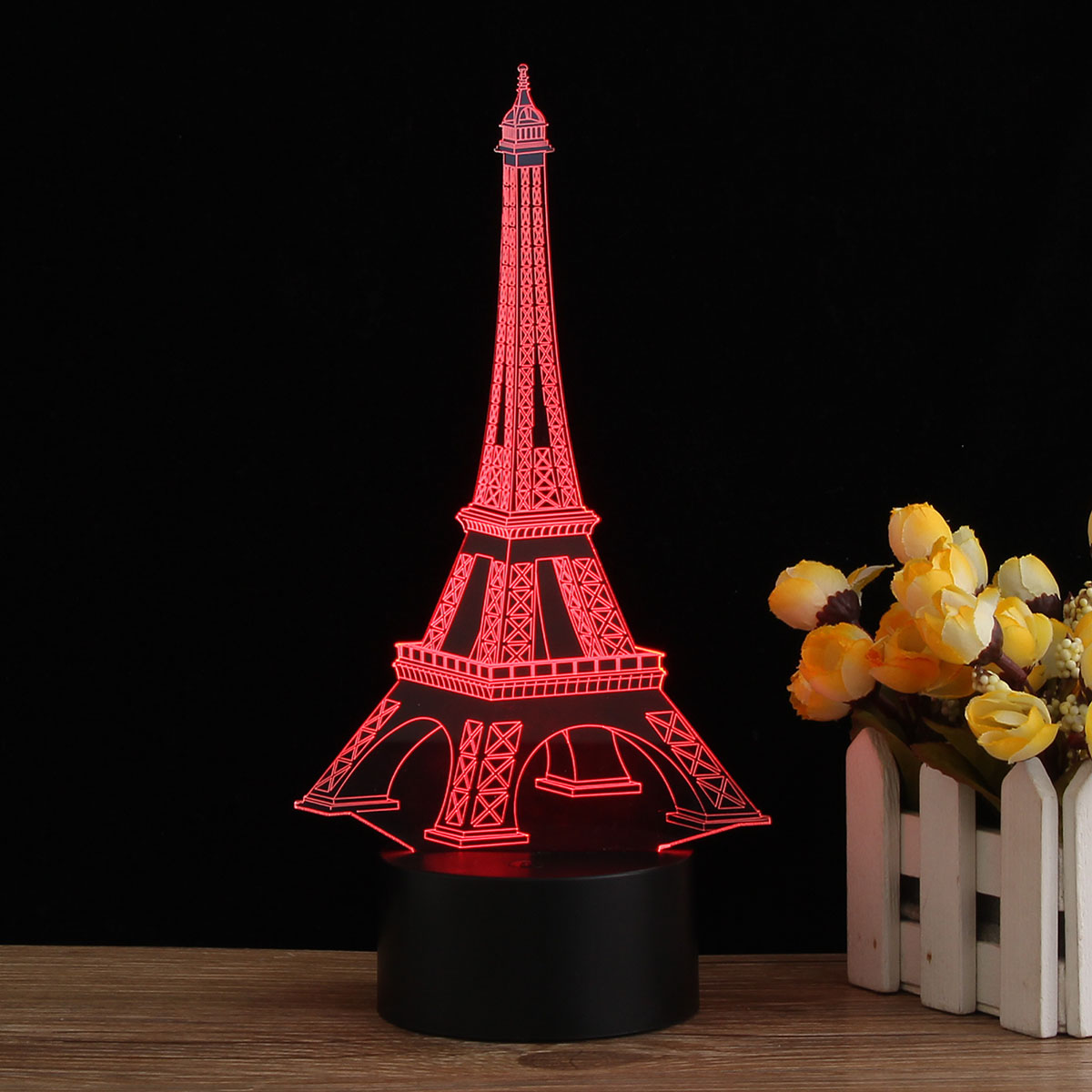 3D Visual USB LED Eiffel <font><b>Tower</b></font> Shape Night Light Color Changing Table Desk Lamp Colorful Novelty Lighting Party Home Decor