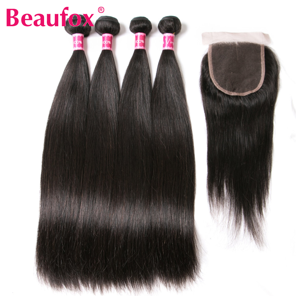 Buy 3 Bundles Get 1 Free Closure Human Hair Bundles With Closure 3 Bundles Brazilian Straight Hair Weave Closure Non Remy Hair