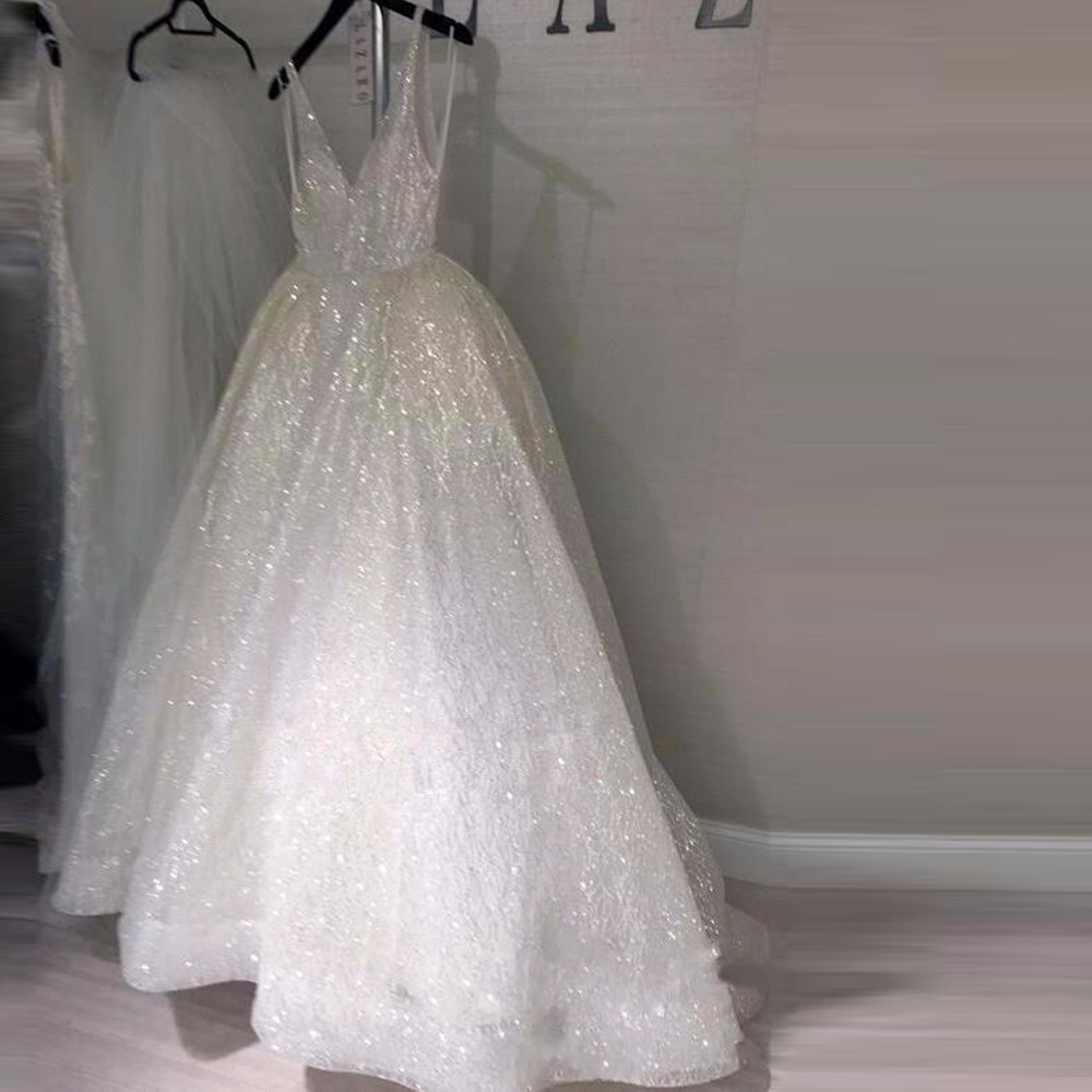 Saudi Arabic Sparkle Sequined Wedding Gowns 2018 Sexy