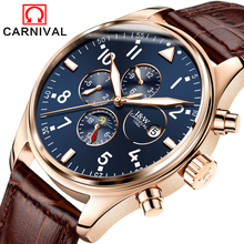 Carnival Sapphire Automatic Mechanical Watch Men Stainless steel waterproof brown leather blue Watch relogio masculine