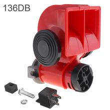 цена на 12V 136db Vehicle Air Horn Snail Red Compact Horns Super Loud for Car Truck Motorcycle Boat RV