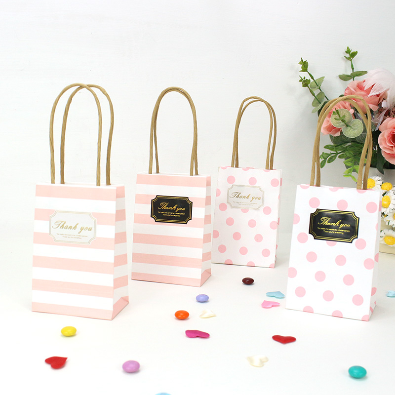 AVEBIEN Wedding Birthday Decoration Event Party Supplies Small Gift Bag With Handles Paper Gift Bag For Candy Jewelry 20pcs