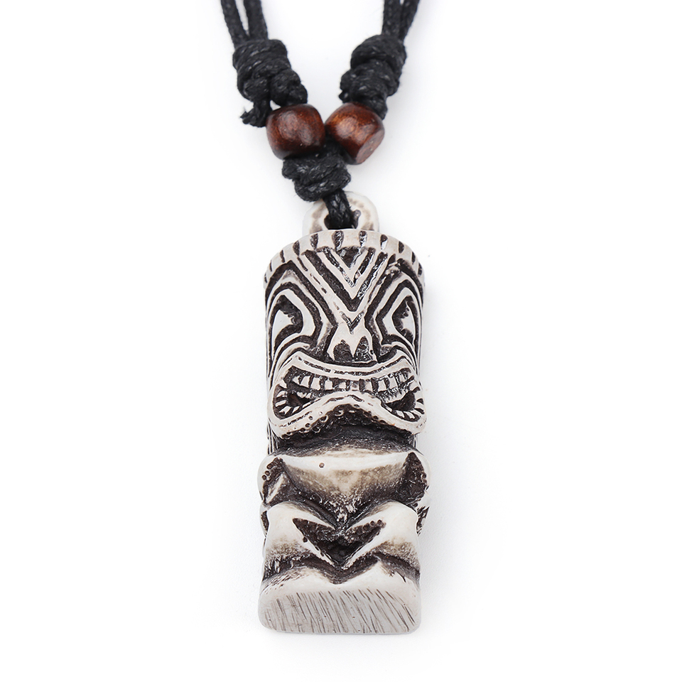 Tiki Bone Pendant with Adjustable Rope Pendant