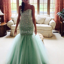 vestidos longos de festa luxuosos Mermaid Mint Green Prom Formal Dresses With Beading Crystals Special Occasion Evening Gowns