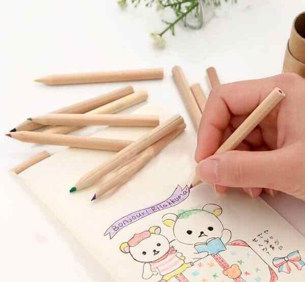 12 pièces/boîte Mini Crayons Crayons papeterie créative mignon ours Crayons pour école fille garçon Crayons de couleur peinture jouets GYH