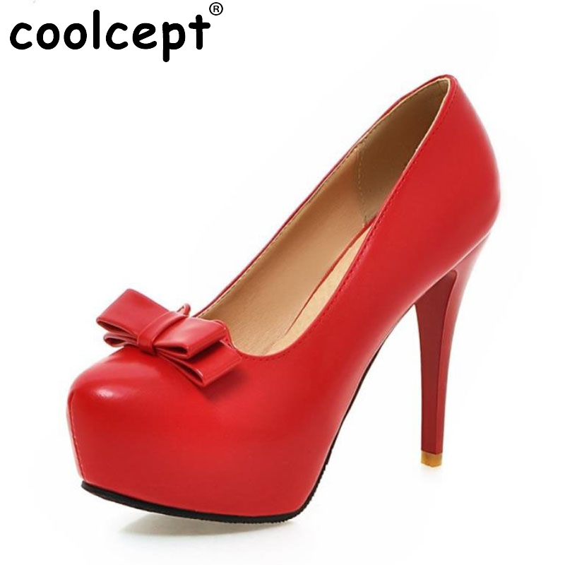 Women Slip-on Women Thin High Heel Shoes Ladies Brand Bowtie Round Toe Heeled Pumps Fashion Platform Shoes Women Plus Size 32-45 fashion women ladies pumps solid color spring summer pointed toe thin heel shoes new arrival high quality brand slip on pumps