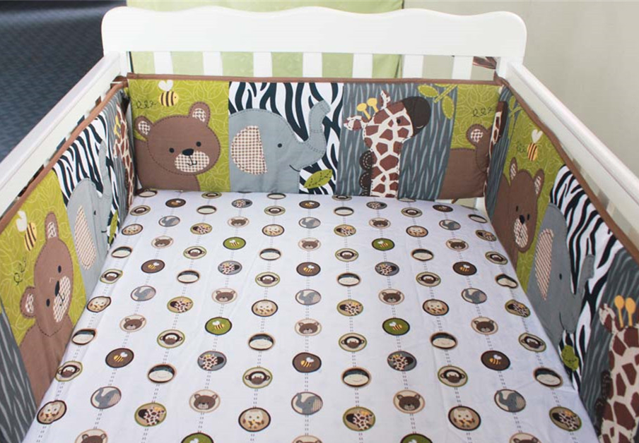 Promotion! 5PCS Baby Crib Bedding Set, Baby Cot Set Bed Linen Newborn Baby Bed Linens For Girl And Boy ,(4bumper+bed Cover)