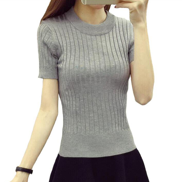 Women Fashion Sweater 2018 High Elastic Winter Green Red Black Tops Women Knitted Pullovers Short Sleeve Shirt Female Clothes 2