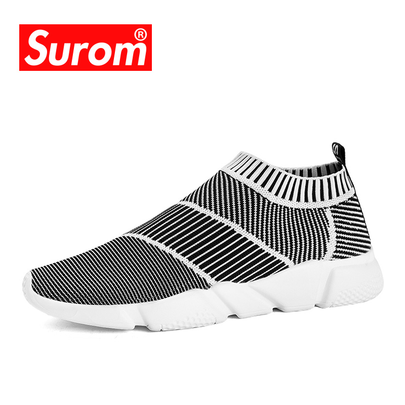 SUROM Brand Summer Men Socks Sneaker Breathable Mesh Male Casual Shoes Slip on Sock Shoes Loafers Boys Super Light Sock Trainers цена 2017