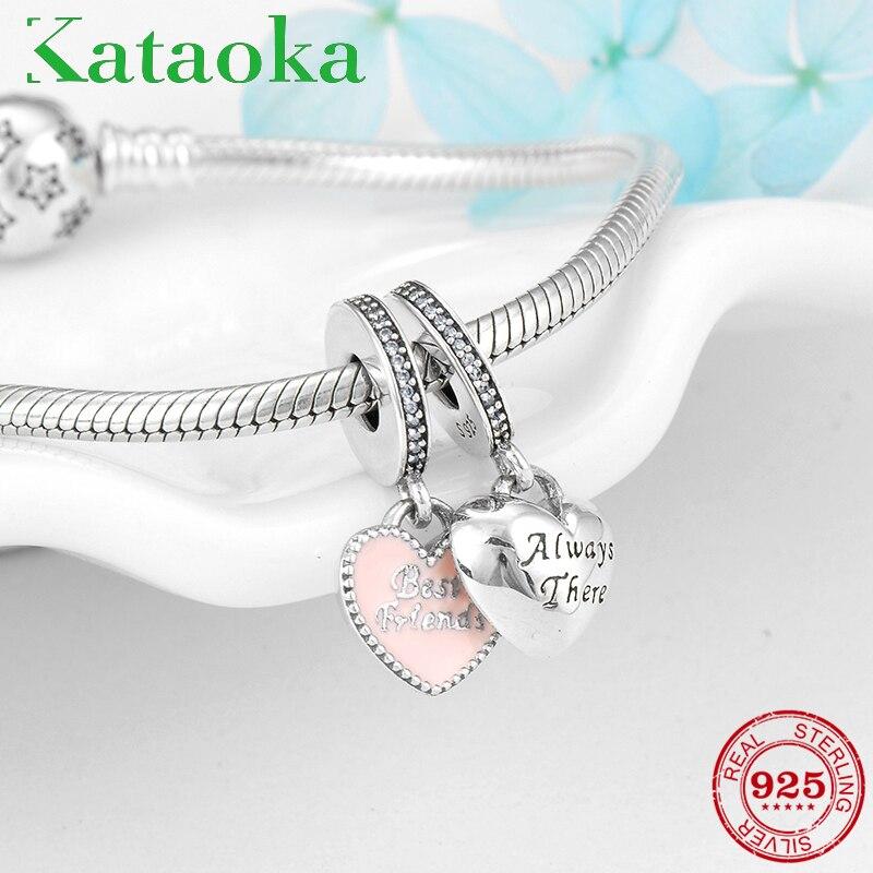Amizade presente 925 Sterling Silver Coração Melhor Amigo Encantos Pingentes Fit Pandora Original Charm Bracelet Jóias fazendo
