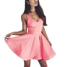 Summer Kawaii Beach Dress Women Party Dresses Vestidos Casual V Neck Beach Dress Sleeveless Mini A -Line Dress Plus Size цена