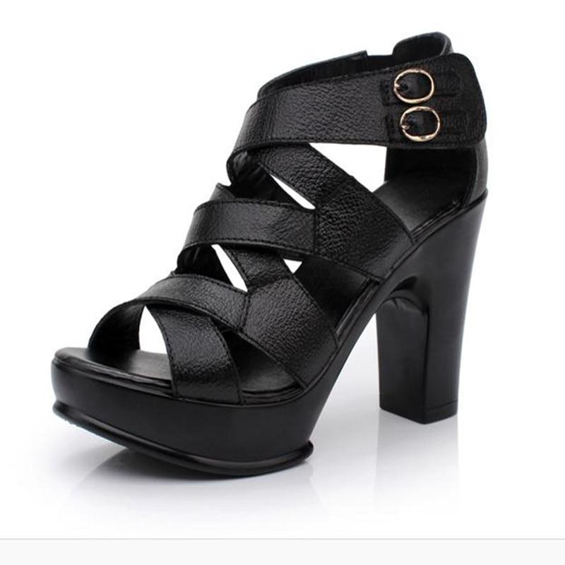ФОТО Leather sandals thick heel female high-heeled sandals plus size platform shoes summer sandals female
