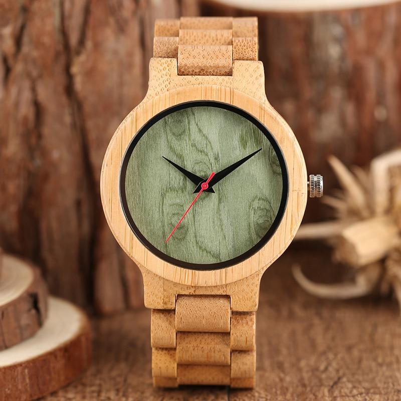 Minimalistinis šviesaus medžio laikrodis 100% originalus bambuko - Vyriški laikrodžiai