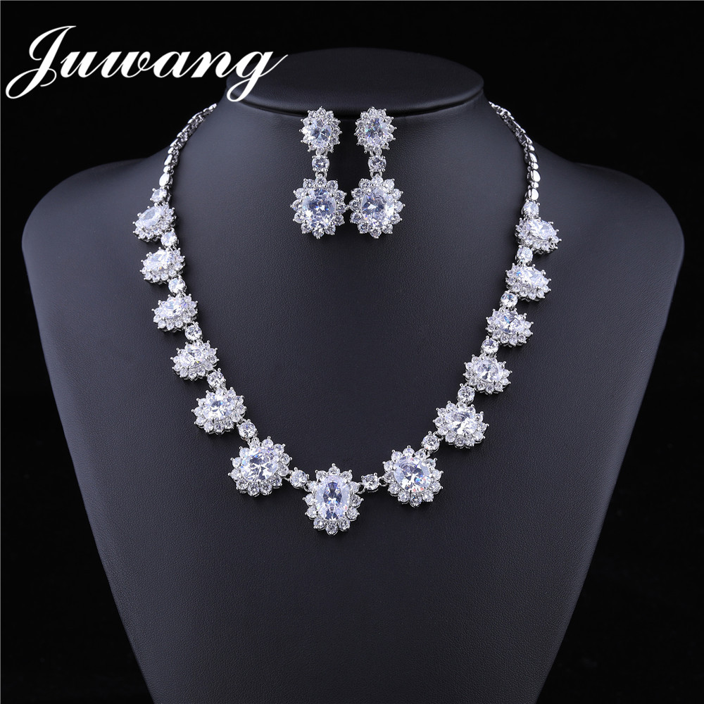JUWANG Brand Clear Cubic Zircons Shiny Jewelry Set for Wedding Woman Crystal Party Bridal Bridesmaid Jewelry Sets Gift