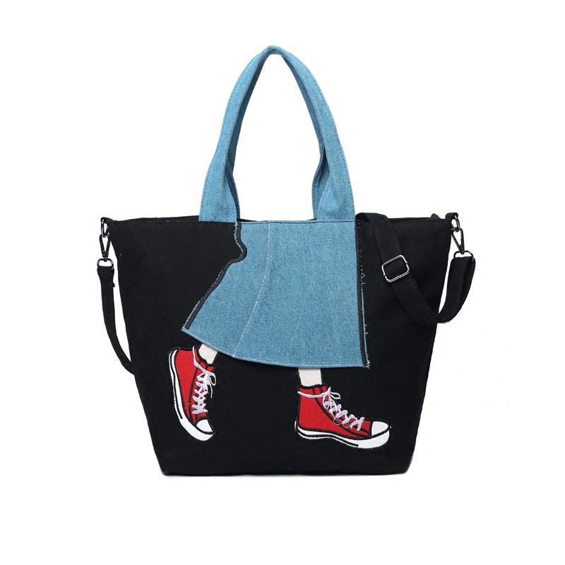 Women Casual Big Totes New Fashion Canvas Panelled Female Shoulder Bags Cowboy Shoes Embroidery Handbags Special Personality