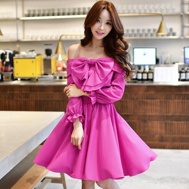 0e6727e192 Dabuwawa fuchsia frill sleeve bow ruffled A-line Midi dress Pink Purple  Sexy Party Dress