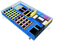 CE Approved Large Fitness Trampoline Park With Olympic Jumping Mat&Foam Pit&Basketball Area 3 Years' Warranty HZ LG056