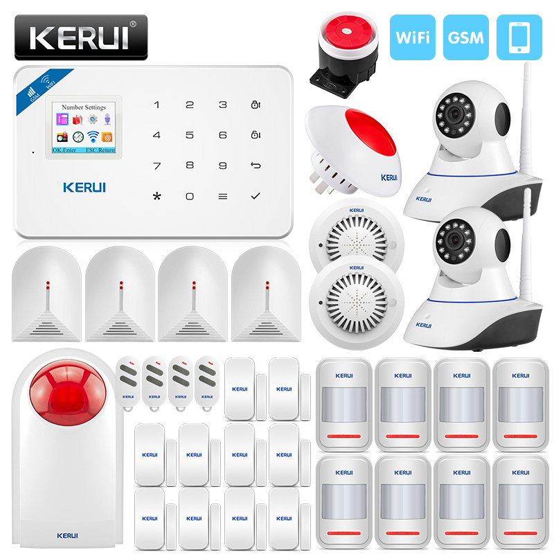 KERUI Smart Wirelss Security Alarm System IOS/Android APP Control With IP Camera Smoke Detector Wireless Siren Burglar Alarm