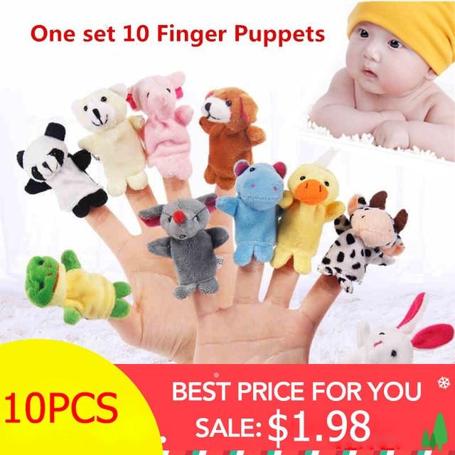 10 piezas de dibujos animados de animales orgánicos marioneta de dedo juguetes de peluche para niños bebé Favor muñecas niños niñas marionetas de dedo historia