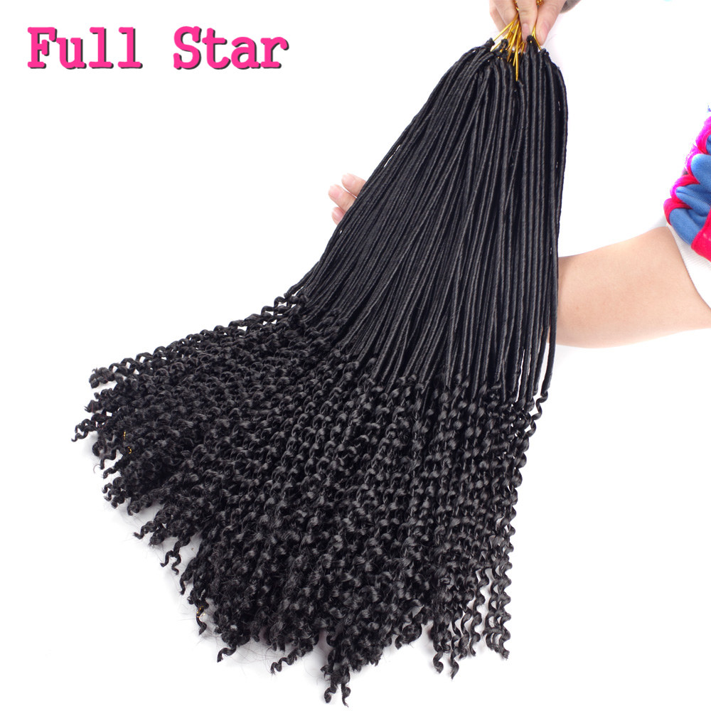 1-6 pack Micro Faux Locks Curly Ends Hair Extensions Full Star 100g Ombre Black Brown Color Synthetic Crochet Braid Hair Style