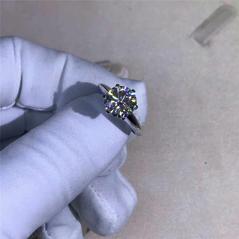 Choucong женский Пасьянс 100% Настоящее кольцо из стерлингового серебра 925 пробы 1.5ct фианит AAAAA обручальные Обручальные кольца для мужчин и женщин подарок