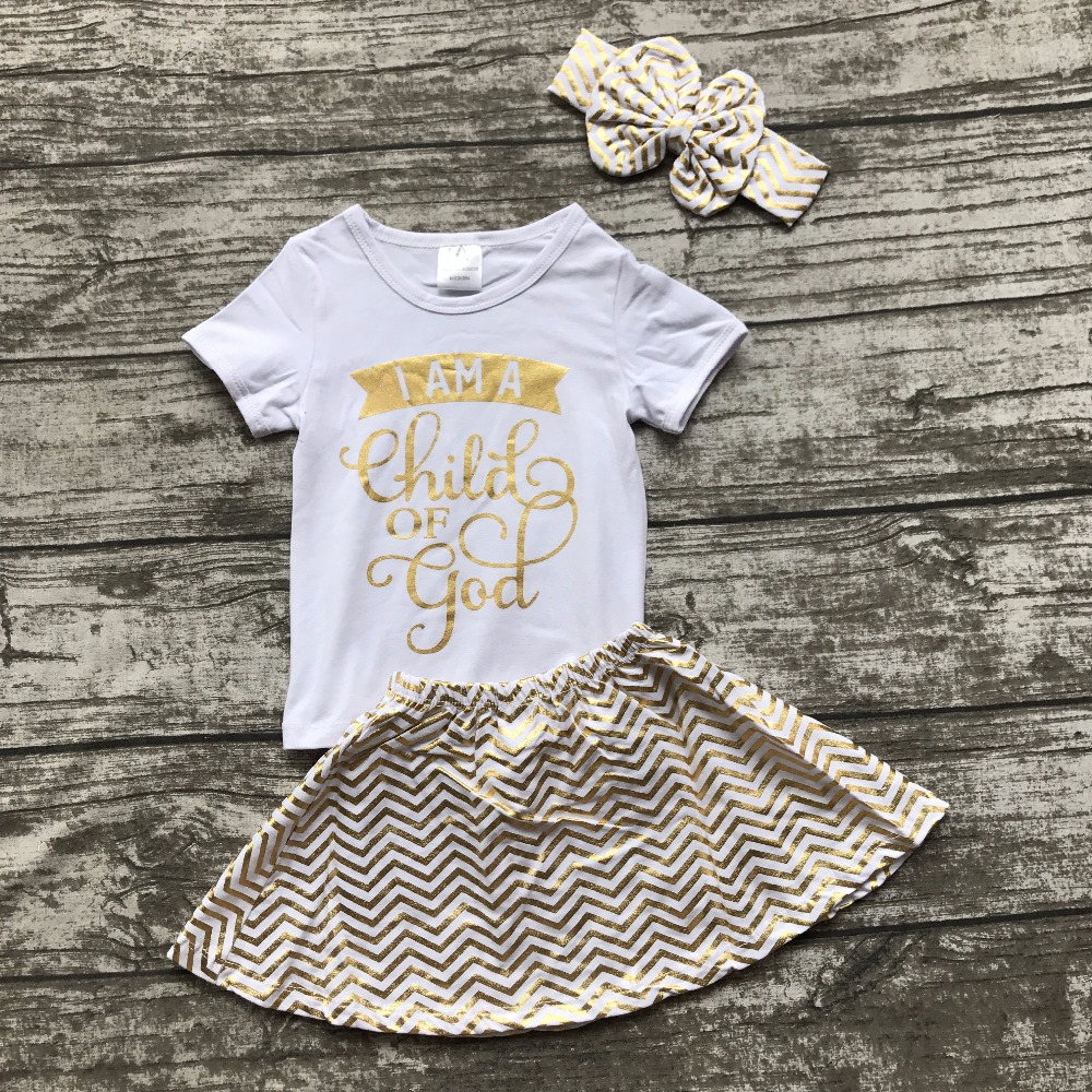 summer I am a child of god baby girls short sleeves cotton white gold chevron outfits skirt dress set with matching accessories a child s garden of verses