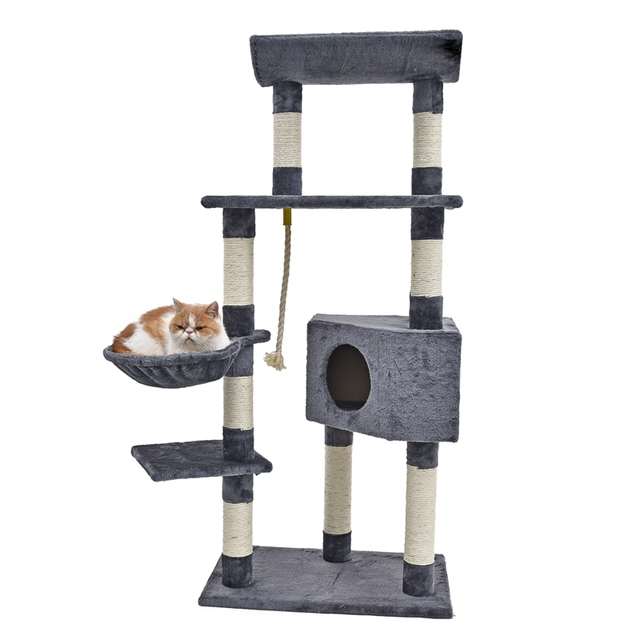 2f27e8f6010d Cat Scratching with Hammock Wood Climbing Tree Cat Toy Scratching Post  Frame With Bowl Pet House Kitten Training Product
