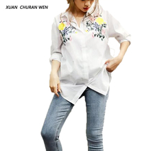 XUANCHURANWEN Ladies Embroidery Cotton Blouse White Women 2017 Turn Down Collar Shirt Elegant Long Sleeve Top YZ8290