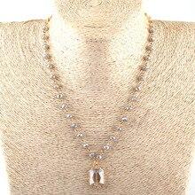 Модные богемные этнические ювелирные изделия 6 мм бисер из стеклянных кристаллов звено кристалл кулон ожерелья