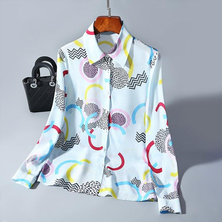 Turn 100Soie À Impression Printemps Nouvelles Eté Longues See Chemises Manches Poitrine Collar Chart Down Unique Chemisier Femmes 2019 POnkw0