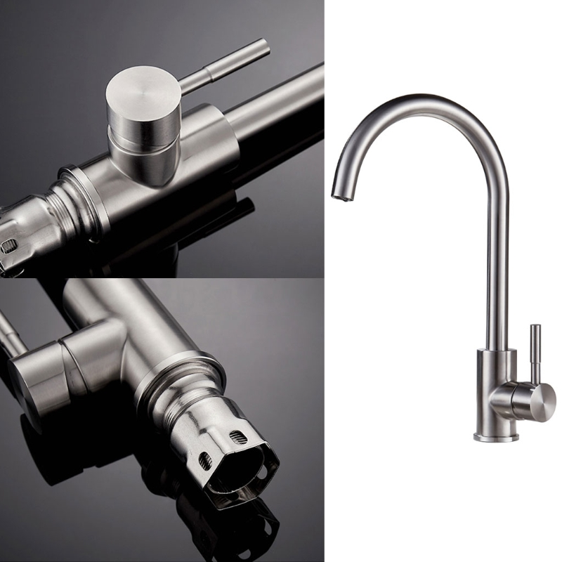 360 Degree Rotatable Tap Chrome Faucet Kitchen Bath Faucet Kitchen Mixer Sink Faucet-Homeful ydl f 0581 wall type 360 degrees rotatable chrome plated brass kitchen sink faucet silver