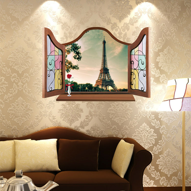 European Style Window Home Decor Bedroom Wall Sticker Eiffel Tower 3D  Effect Decal For Living Room