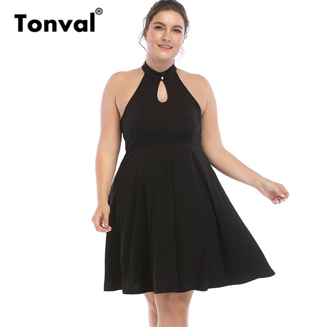 Tonval Vintage 5XL 6XL Black Swing Dress Halter Party Backless Summer Dress  2018 Women Big Plus Size Dresses 55a6c98efe