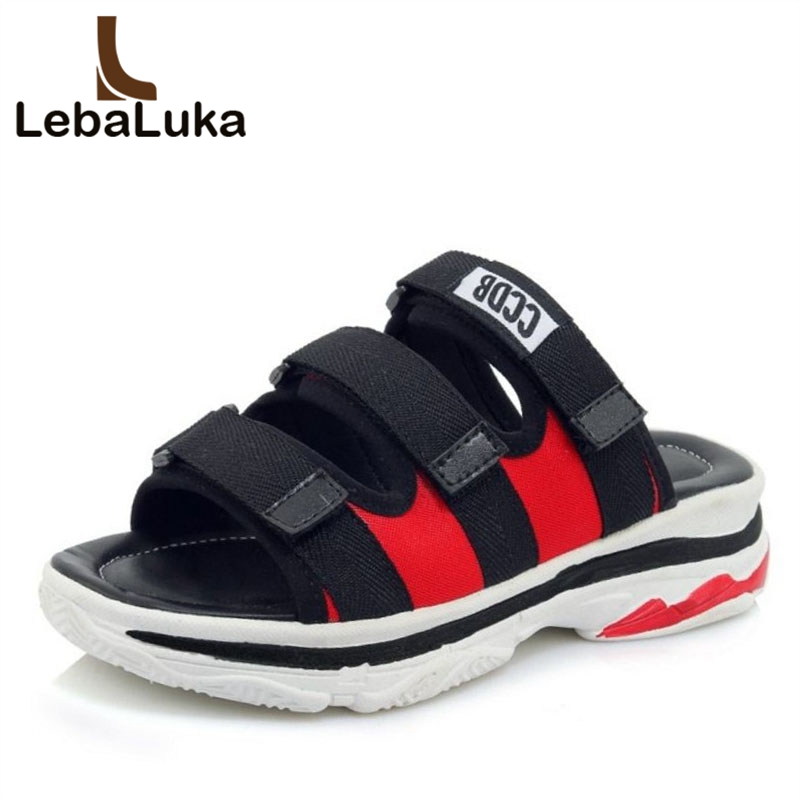 LebaLuka Size 30-45 4 Colors Ladies Flats Sandals Summer Vacation Beach Shoes Women Mixed Color Club Shose Fashion Footwear