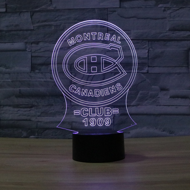 NHL Montreal Canadiens Ice Hockey League Club Shadow Visual Light 3D Colorful Touch Lamp Home Decor